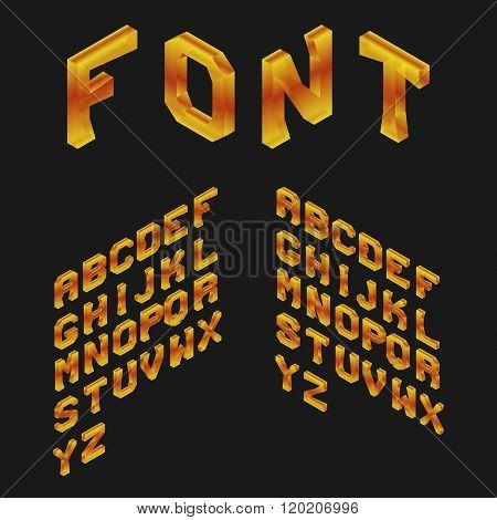Amber Isometric Latin Alphabet. 3D Geometric Font. Three Dimensi