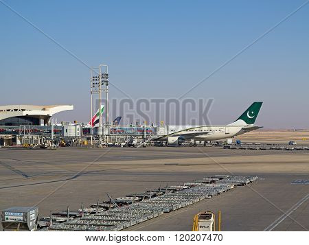 Riyadh - March 01:  Planes preparing for take off at Riyadh King Khalid Airport on March 01, 2016 in Riyadh, Saudi Arabia. Riyadh airport is home port for Saudi Arabian Airlines.
