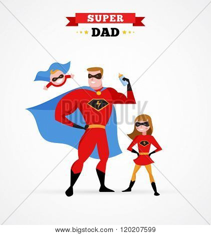 Super hero daddy in superhero costume with children