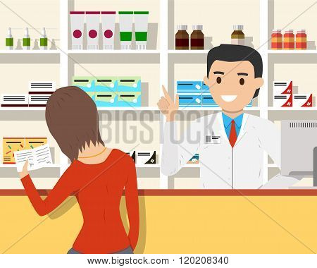 Woman buys medicine in a pharmacy on prescription. Vector illustration