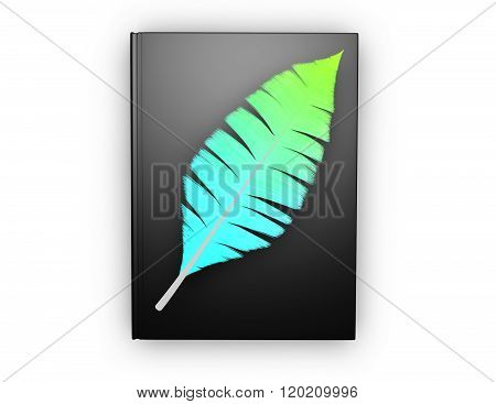 Writing A Book, Learning Studying Concept With Black Notebook And Feather Illustration.