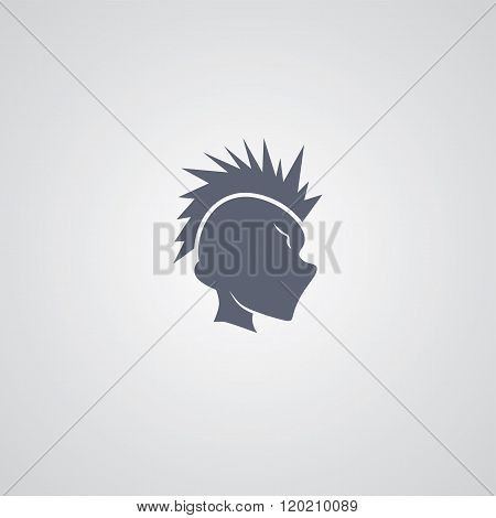 mohawk guy logotype theme vector art illustration
