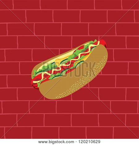 hotdog tasty and delicious snacks theme vector art illustration