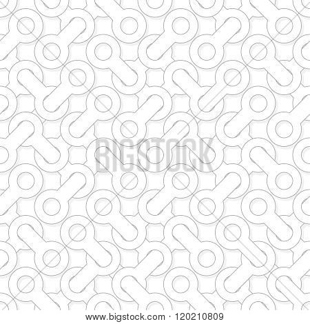 Abstract Simple Geometric Vector Pattern - Entwined Shapes On White Background