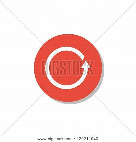 Reload Icon, On White Background, Red Circle Border, White Outline