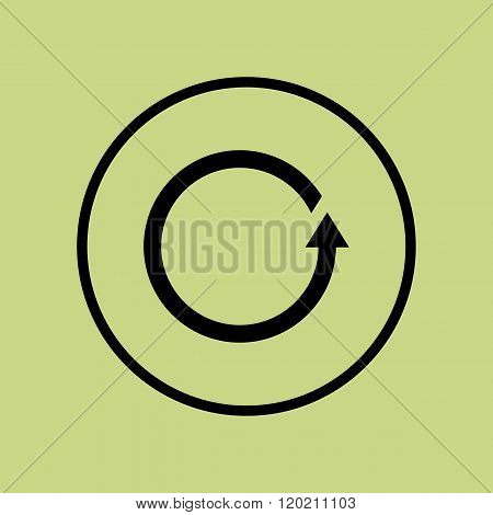 Reload Icon, On Green Background, Circle Border, Dark Outline