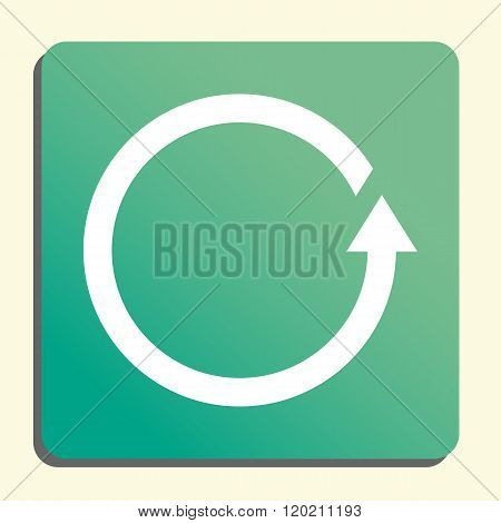 Reload Icon, On Button Style Green Background, Yellow Light, Shadow