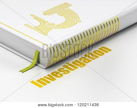 Science concept: book Microscope, Investigation on white background
