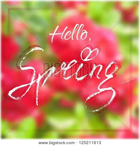 Hello Spring. Welcoming Card With Lettering