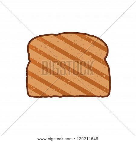 Toast vector illustration. Icon toasted bread in flat style. Crispy slice of bread.