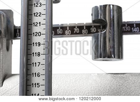 Scales In The Doctor's Clinic To Measure The Weight And Height Of Children