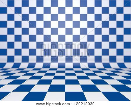 Blue checkerboard background with copy space.