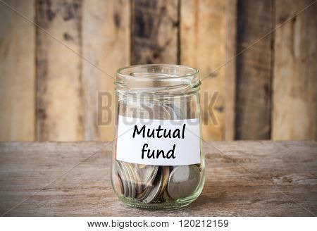 Coins In Glass Money Jar With Mutual Fund Label, Financial Concept.
