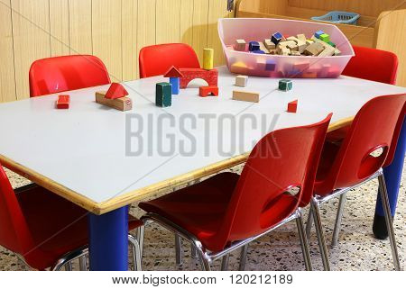 Wooden Toys In A Nursery Classroom