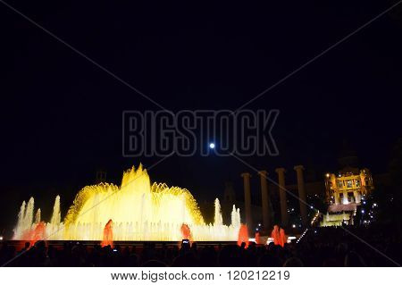 Dancing fountain in Montjuic Barcelona, Spain