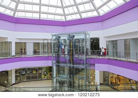 The Glass Elevator In The Modern Shopping Center