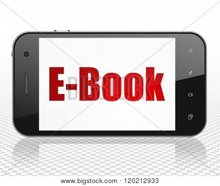 Education concept: Smartphone with E-Book on display