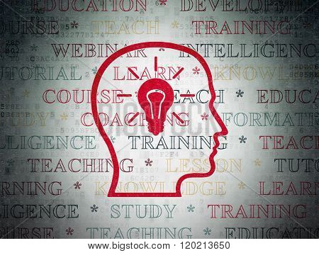 Education concept: Head With Lightbulb on Digital Paper background