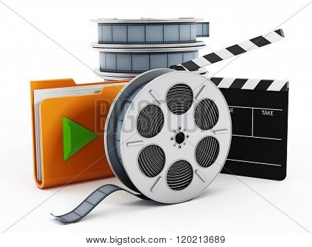 Film reels yellow folder icon and clapboard isolated on white background