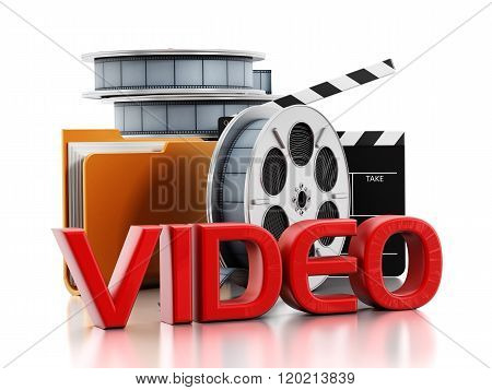 Film reels yellow folder icon clapboard and video text isolated on white background