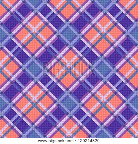 Seamless Diagonal Pattern In Blue, Coral And Violet