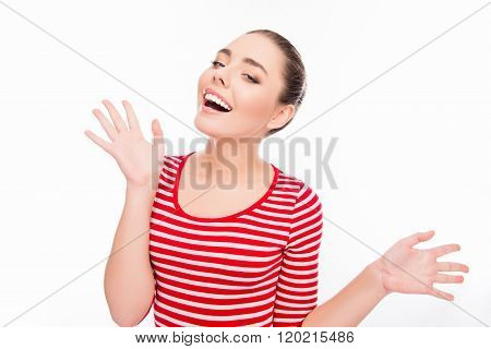 Portrait Of Surprised Happy Smiling Girl Gesturing With Hands