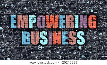 Empowering Business on Dark Brick Wall.
