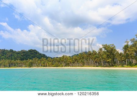 Tropical sea shore os the Ao Phrao beach in Ko Mook island, Thailand