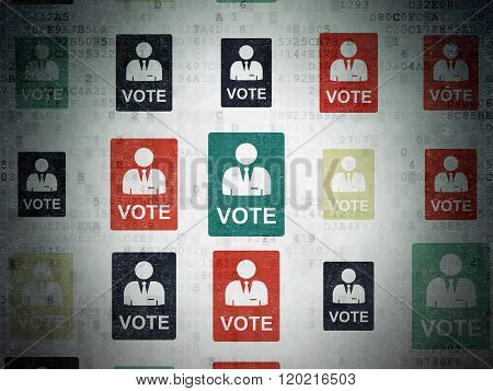 Political concept: Ballot icons on Digital Paper background