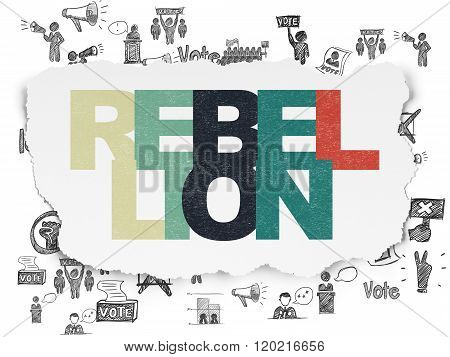 Political concept: Rebellion on Torn Paper background