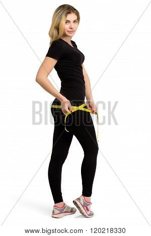 Slim isolated woman, weight-loss with measuring tape