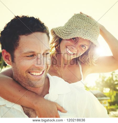 Couple Beach Bonding Getaway Romance Holiday Concept