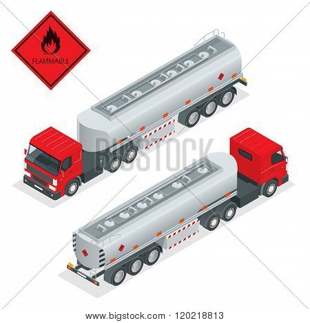 Fuel gas tanker truck isometric illustration. Truck with fuel 3d vector. Automotive fuel tanker ship