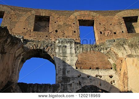 Rome, Italy - December 21, 2012: Inside The Colosseum, Also Known As The Flavian Amphitheatre In Rom