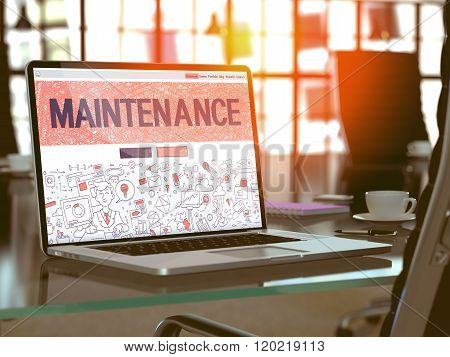 Maintenance on Laptop in Modern Workplace Background.