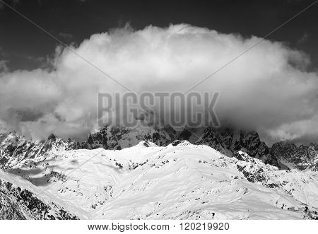 Black And White View On Mount Ushba In Clouds At Winter