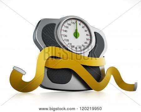 Diet Concept With Wieght Scale And Tape Measure