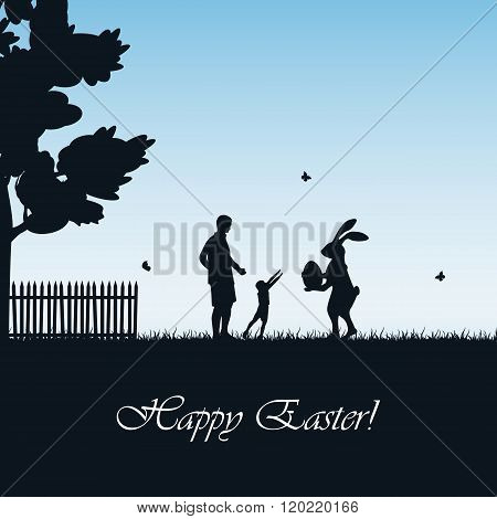 Easter Rabbit And Child On Blue Background