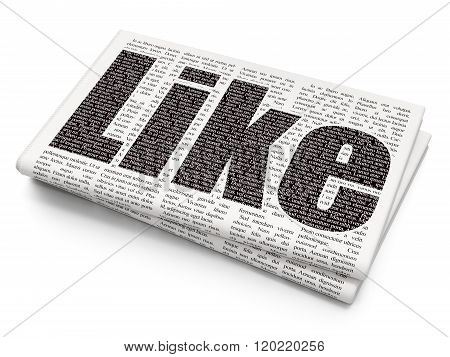 Social media concept: Like on Newspaper background