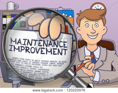 Maintenance Improvement through Magnifying Glass. Doodle Style.