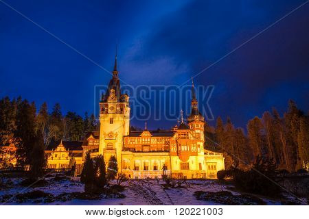 Peles palace architecture in evening light, In Sinaia, Romania