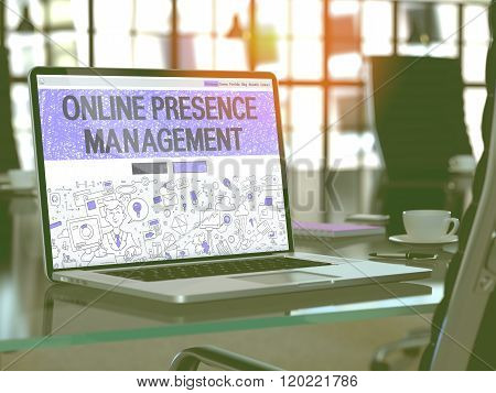 Online Presence Management Concept on Laptop Screen.
