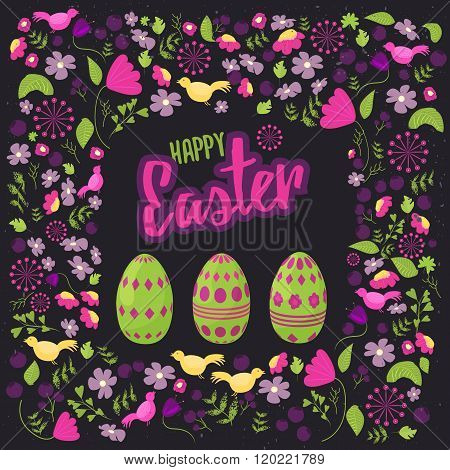 Easter floral frame with colorful eggs on dark background. Can be used for easter greetings, easter