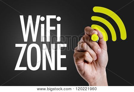 Hand writing the text: WiFi Zone