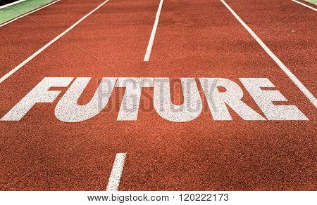 Future written on running track