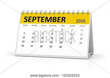 A german language table calendar for your events 2016 september