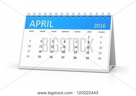 A blue table calendar for your events 2016 april