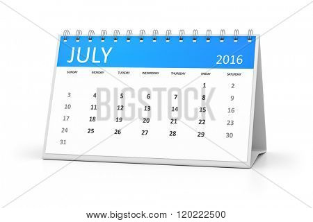 A blue table calendar for your events 2016 july