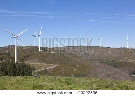Windfarm in the top of a mountain