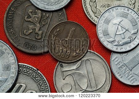 Coins of Bulgaria. Bulgarian one stotinka coin (1988) coined in the People's Republic of Bulgaria.